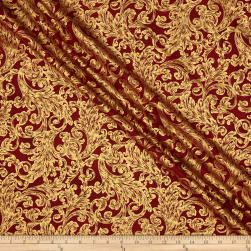 Warm Wishes Metallic Damask Scarlet/Gold Fabric