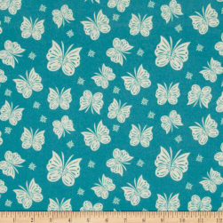 Riley Blake Acorn Valley Flannel Flutter Teal Fabric