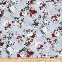 Floral Perspective Tossed Flowers Scarlet Fabric