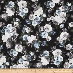 Floral Perspective Large Floral Ice Blue Fabric