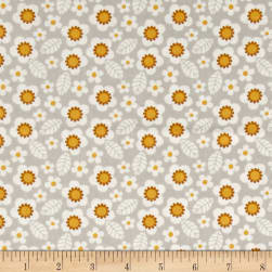 Mamma & Me Flowers Light Gray Fabric