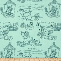 Yogi Bear Line Art Light Turquoise Fabric