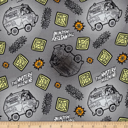Scooby Doo Tonal Dots & Icons Grey Fabric