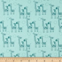 Riley Blake Giraffe Crossing 2 Flannel Giraffes Teal