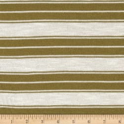 Sweater Knit Stripe Olive/White