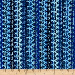 Open Weave Sweater Knit Stripes Blue