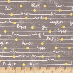 Gigi Blooms Happy Notes Gray Metallic Fabric