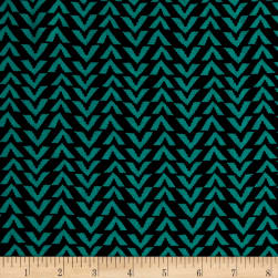 Triangle Stripes Rayon Challis Black/Atlantis Fabric