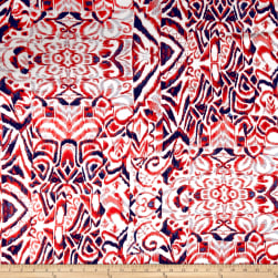 Floral Collage Rayon Lawn Red/Navy Fabric