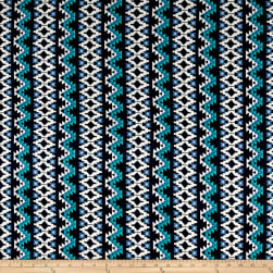 Aztec Stripe Jersey Knit Navy/Jade Fabric