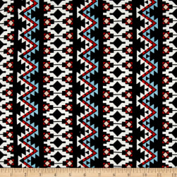 Aztec Stripe Jersey Knit Black/Orange Fabric