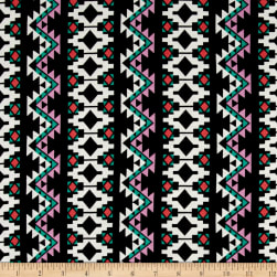 Aztec Stripe Jersey Knit Black/Jade Fabric