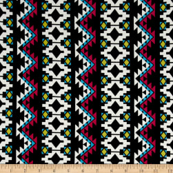 Aztec Stripe Jersey Knit Black/Hot Pink