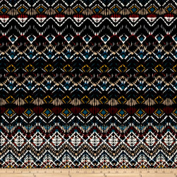 Abstract Zig Zag Jersey Knit Print Black/Garnet Fabric