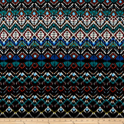 Abstract Zig Zag Jersey Knit Print Black/Atlantis Fabric
