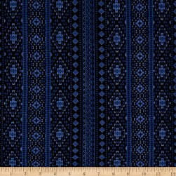Simple Aztec Stripe Jersey Knit Blue/Black Fabric