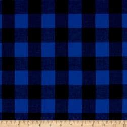Cotton Lawn Buffalo Plaid Black/Electric Blue Fabric