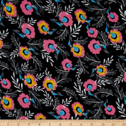 Simple Floral Rayon Crepe Print Navy/Pink Fabric