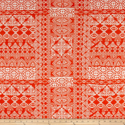 Paper Snowflake Jersey Knit Orange/Ivory Fabric