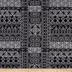 Paper Snowflake Jersey Knit Black/White Fabric