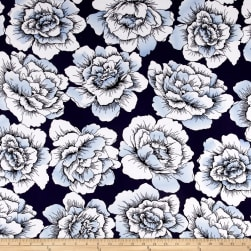 Sweet Blooms Stretch ITY Jersey Knit Navy/Powder Blue
