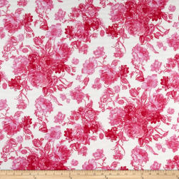 Romantic Floral Pique Knit Print Ivory/Fruitpunch Fabric