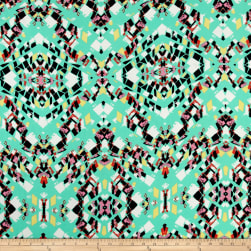 Stained Glass Dobby Crepe Print Pale Mint/Black