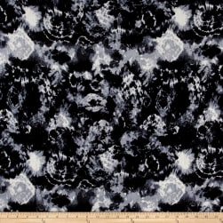 Tie Dye Rayon Crepon Print Black/Grey