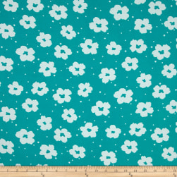 Flower Power Dobby Crepe Print Atlantis/White Fabric