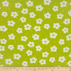Flower Power Dobby Crepe Print Citron/White Fabric