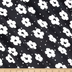 Flower Power Dobby Crepe Print Black/White Fabric