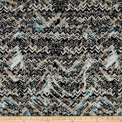 Abstract Zig Zag Dobby Crepe Print Black/Teal