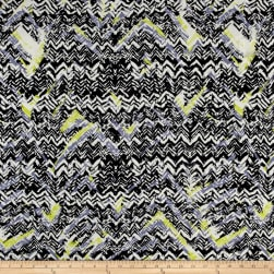 Abstract Zig Zag Dobby Crepe Print Black/Citron Fabric