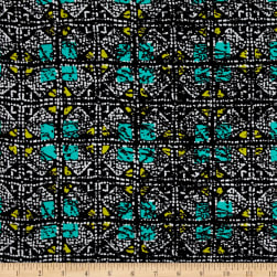 Shaded Squares Rayon Crepe Print Black/Jade Fabric