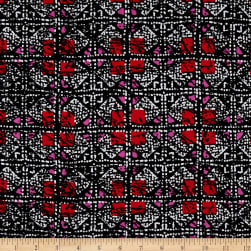 Shades Squares Rayon Crepe Print Black/Red Fabric