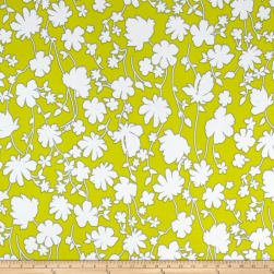 Summer Floral Stretch ITY Citron/White Fabric