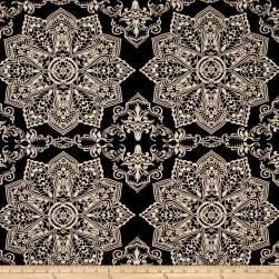Mosaic Flower Stretch ITY Chocolate/Ivory Fabric