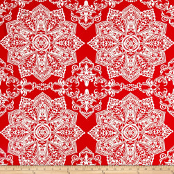 Mosaic Flower Stretch ITY Jersey Knit Coral/Ivory Fabric