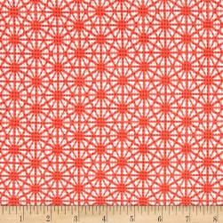 Daisy Printed Knit Pique Coral/Ivory Fabric