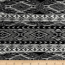 Mayan Diamond Stripe Span Jersey Black/Ivory Fabric