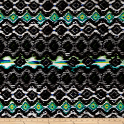 Ikat Diamond Span Jersey Knit Black/Jade Fabric