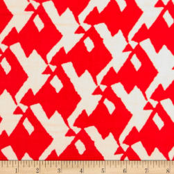 Rayon Challis Abstract Snake Bone/Red