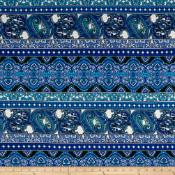 Peachskin Paisley Feathers Floral Blue