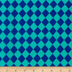 Crepe De Chine Harlequin Royal/Aqua Fabric