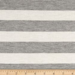 Modal Rayon Jersey Knit Stripe Natural Grey
