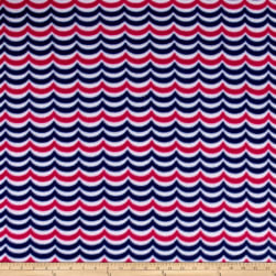 Sail Away Waves Fleece Navy/Pink Fabric