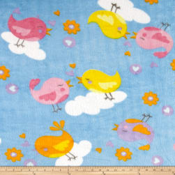 Heavenly Plush Kissing Birds Fleece Blue