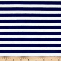 French Terry Knit Stripe Electric White/Blue