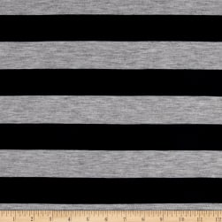 Jersey Knit Stretch Stripe Navy/Grey Heather Fabric