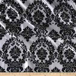 Flocked Damask Taffetta White/Black Fabric